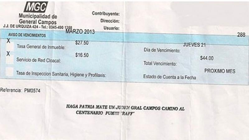 La factura que llegó a un domicilio en General Campos.