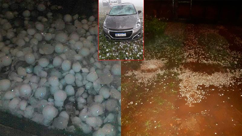 El granizo en Posadas y en el recuadro pequeño un auto abollado en Corrientes.