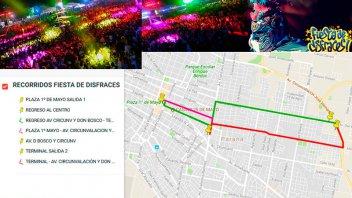 Fiesta de Disfraces: Colectivos gratis cada 10 minutos de la Plaza y la Terminal