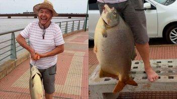 Encarnó con cuero de pollo y pescó un pacú de 29 kilos en el río Paraná