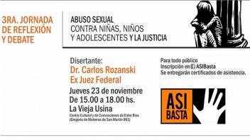 El ex juez Carlos Rozansky disertará en Paraná sobre el abuso infantil