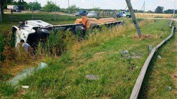 Camionero entrerriano perdió la vida al protagonizar un vuelco