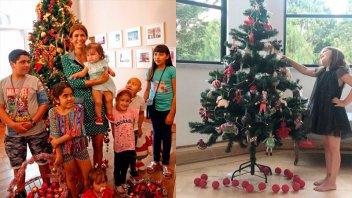 Juliana Awada y Antonia armaron el arbolito de navidad