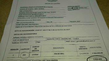Polémica: Diputados gastó casi un millón de pesos en 200 pines de oro