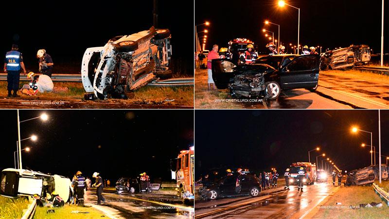 Violento choque y vuelco en el acceso a Urdinarrain