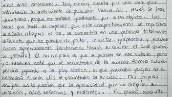 De puño y letra: Revelan páginas del supuesto diario íntimo de Nahir Galarza