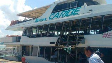Impresionante video del momento de la explosión de un ferry en Playa del Carmen