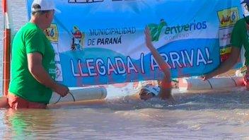 Se disputó la maratón acuática Villa Urquiza - Paraná: ganó Damián Blaum