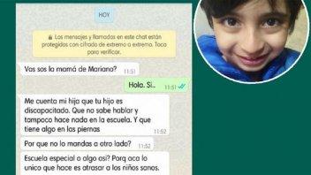 Indignante: envió mensaje para que chico con autismo no se juntara con su hija