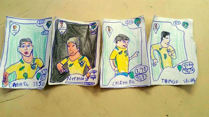 Niño brasileño dibuja su propio álbum del Mundial Rusia 2018