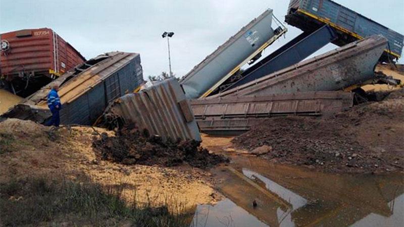 El tren descarrilado en Santa Fe.