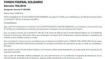 Oficializan eliminación de Fondo Sojero que impactará en provincias y municipios
