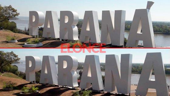 Ya tienen tilde las letras gigantes de Paraná en la barranca del Patito Sirirí