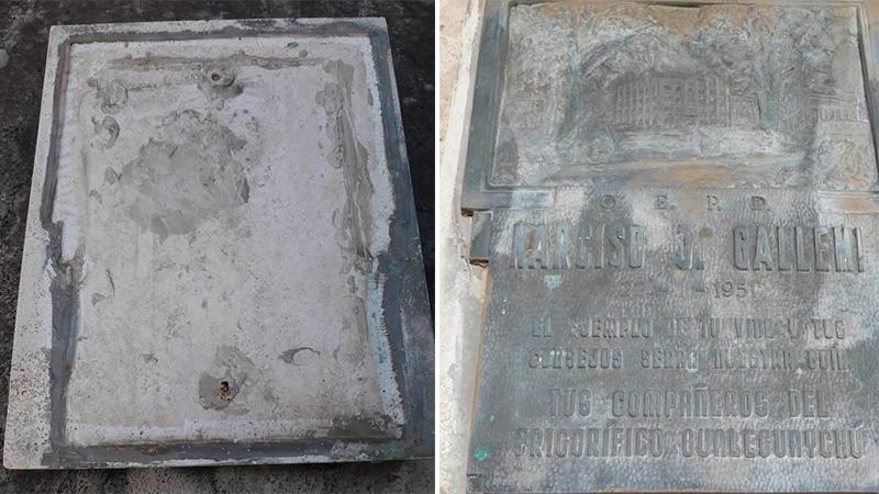 Robaron costosa placa del cementerio de Gualeguaychú