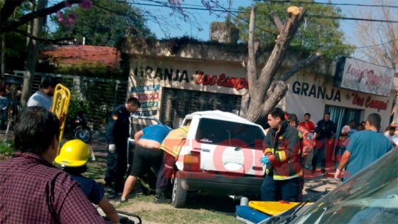 Grave accidente: perdió el control del auto y terminó contra un árbol