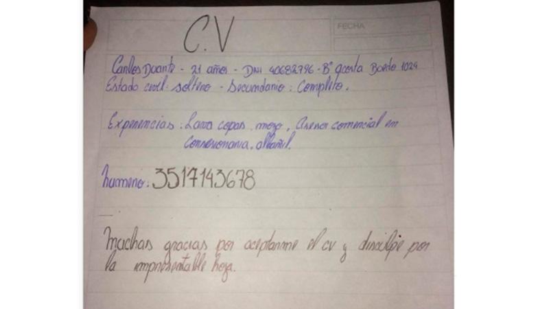 Córdoba: consiguió trabajo el joven que presentó un CV escrito a mano