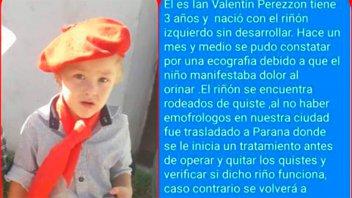 Familiares de un niño con tratamiento en Paraná piden ayuda
