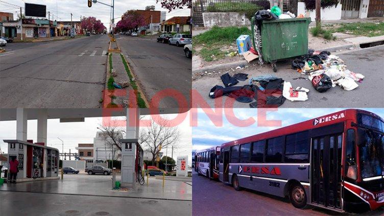 Basura acumulada, sin colectivos y escaso movimiento en calles de Paraná
