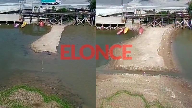 La comparación del río hoy y hace ocho días.