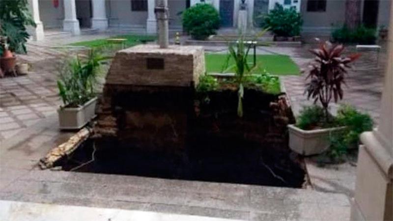 Se hundió el piso del patio de una escuela de Rosario