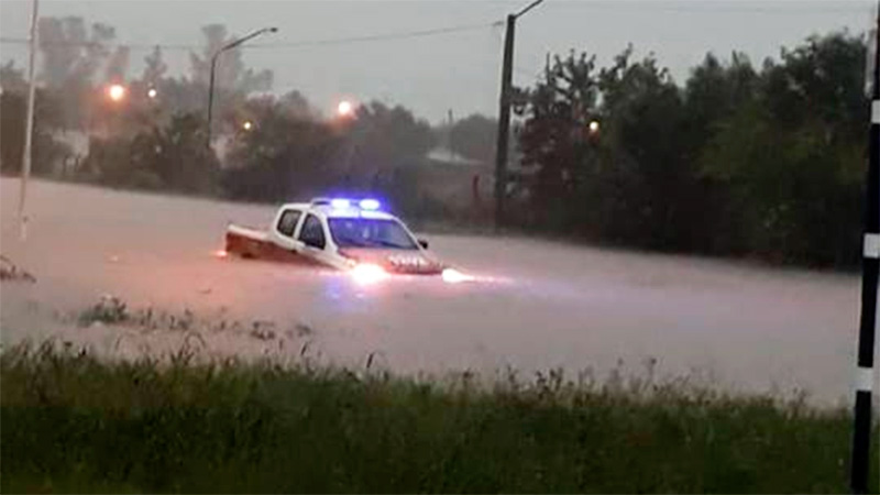 Imágenes del temporal que azotó Nogoyá: se inundaron varias zonas