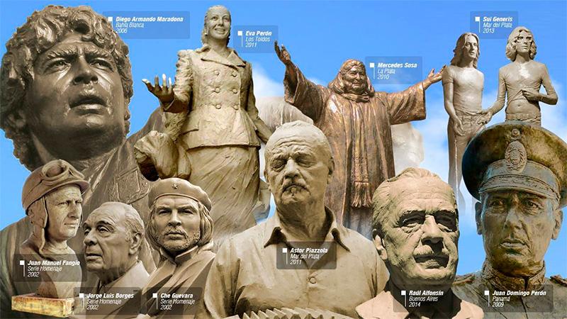 Algunas de las esculturas de Carlos Benavídez