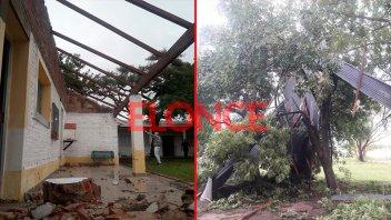 El viento se llevó parte del techo de una escuela rural en Rosario del Tala