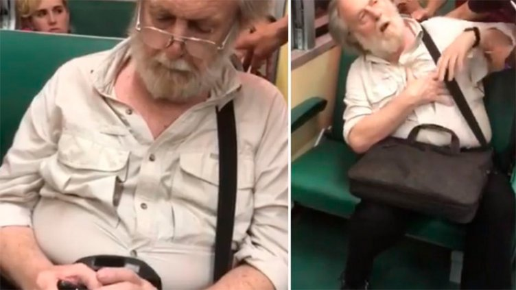 Video: Fotografió a una chica en el tren y fingió un infarto ante el escrache