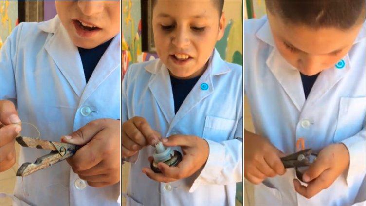 Video: Tiene 9 años y creó un trompo artesanal que se hizo viral