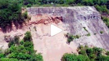 Muestran desde un drone  el estado de la barranca en la Toma Vieja