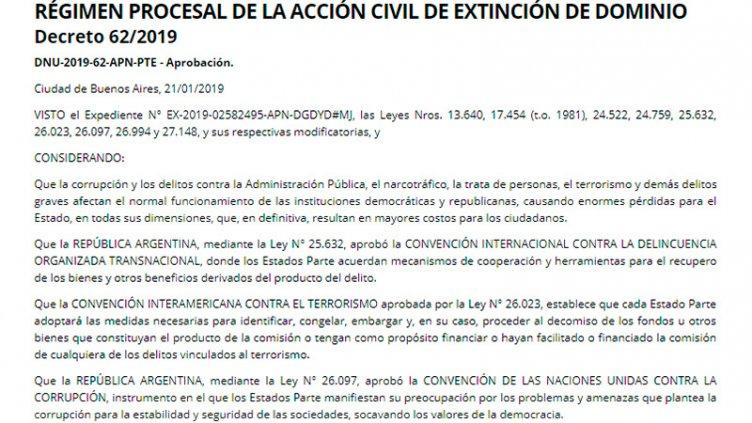 El gobierno oficializó el decreto de Extinción de Dominio
