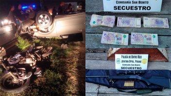 Hallaron importante suma de dinero y un fusil tras choque múltiple en San Benito