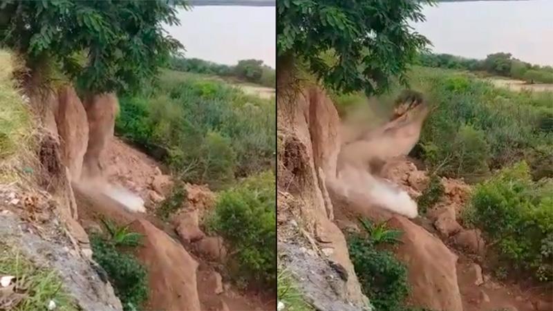 Videos: Nuevos desbarrancamientos en Diamante y peligra el Cristo Pescador