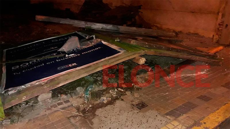 Caída de cerramiento en calle 9 de Julio