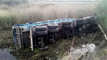 Camión despistó y cayó a un bañado: Chofer se salvó de morir ahogado