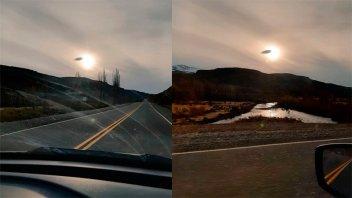 Iba a votar y se cruzó con un OVNI en la ruta: Las fotos que tomó