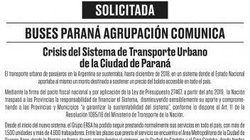 SOLICITADA: Buses Paraná comunicó sobre la crisis del transporte urbano