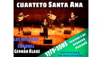 Identidad Litoral: Cuarteto Santa Ana se presentará en Paraná