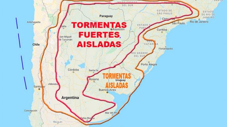 Advierten por tormentas que afectarían a varias provincias y zonas de Entre Ríos