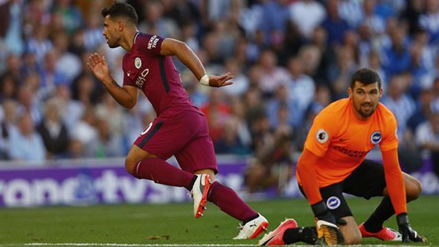 Agüero convirtió en la victoria de Manchester City.