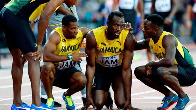 El jamaiquino no pudo terminar la final de 4x100 metros.