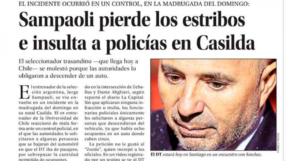 El DT del seleccionado argentino de fútbol tuvo un altercado con policías.