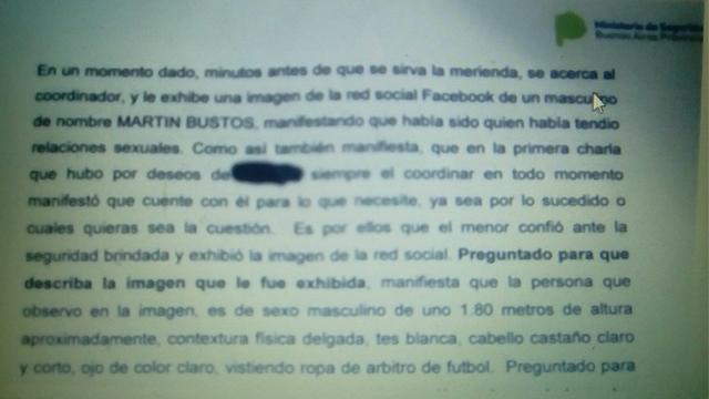 La denuncia donde figura Marón Bustos. (Foto: www.dobleamarilla.com.ar)