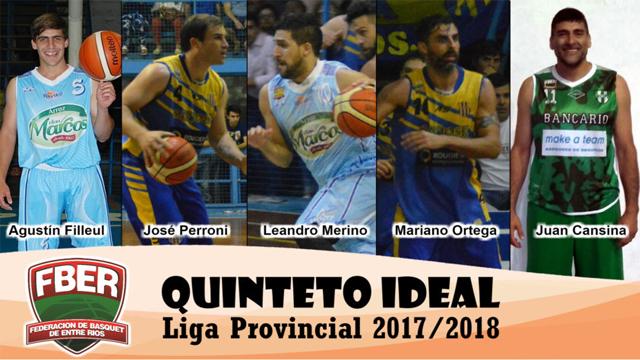 El Quinteto ideal de la Feber con Merino como Jugador Más Valioso.