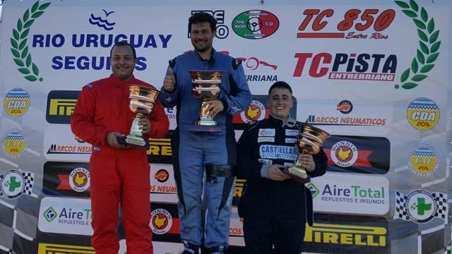 El podio de la primera carrera del TC 850 Entrerriano.