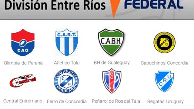 Los ocho integrantes de la División Entre Ríos del Torneo Federal de Básquet.
