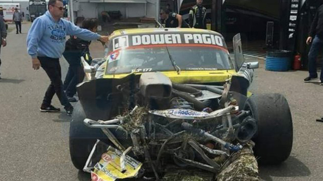 Así quedó el auto de Ayrton tras el accidente ocurrido en Olavarría.