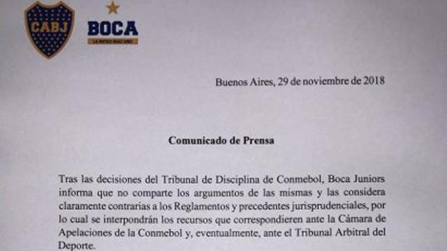 El comunicado oficial de Boca donde anuncia que agotará instancias de apelación.
