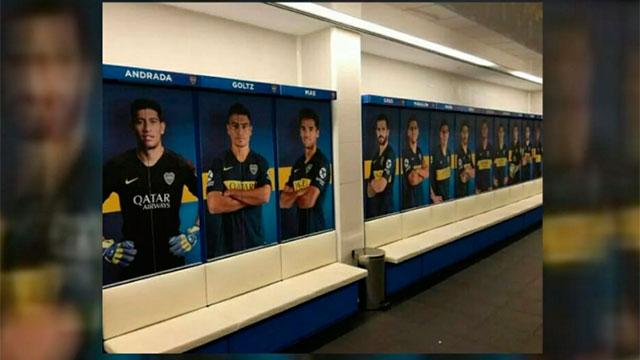 Boca decoró de azul y oro el predio en Madrid.