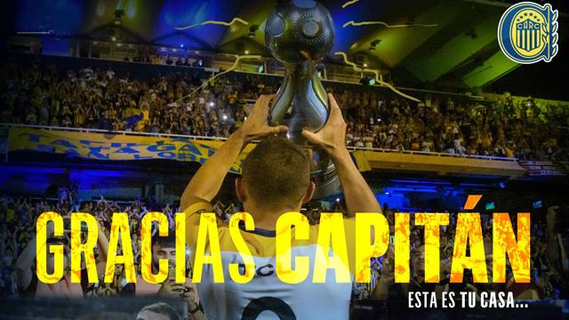 El Canalla saludó a su capitán e ídolo en su partida al fútbol brasileño.